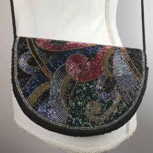 48f9f5cb1872 Magid Black Beaded Evening Bag Vintage Art Deco